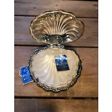 """Eales of Sheffield England Silver Plate Clam Shell Butter Dish & Glass Insert 4"""""""