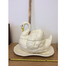 Beautiful Vintage Antique White Swan Soup Tureen With Underplate