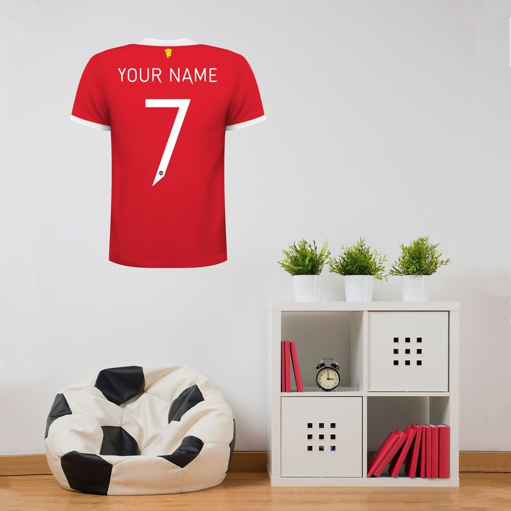 Details about manchester united fc personalised shirt wall sticker man utd vinyl decal set
