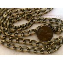 Vintage Ribbed Bronze Tone Metal Oval Link Chain 2 feet