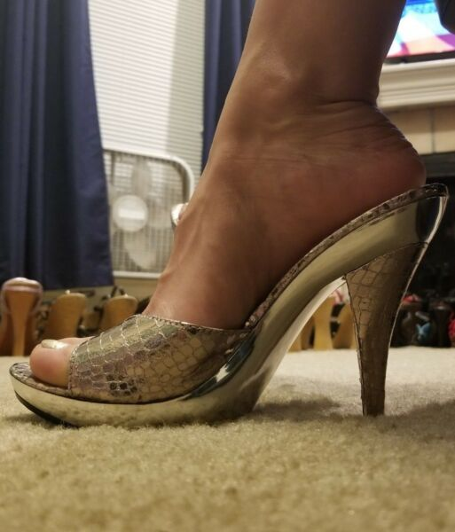 Delicious Sandals High Heels Sexy Slides Slip on Mule Clog Chrome Silver 8 / 38