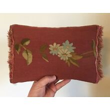 Antique Red Flower Aubusson Tapestry Made into Pillow Bolster with Fringe #1