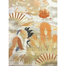 Cream Silk Vintage Obi w/ Folding Fans, Feathers, Pine, and Cranes Design!