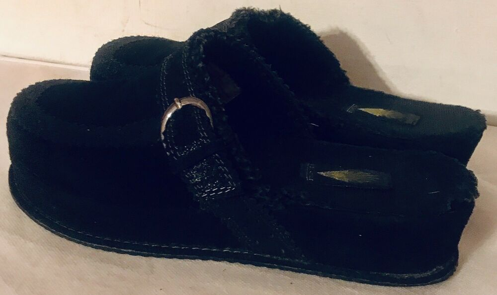 4b3c556008855 Details about Volatile Black Suede Leather   Faux Fur Platform Wedge Mule  Clogs Size 8 M