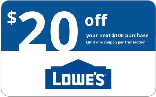 ONE 1x Lowes $20 OFF $100Coupons-InStore and Online -Fast-Delivery----