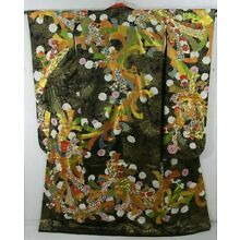 Antique Black Furisode Kimono w Gold Weave & Colorful Ribbon Design - Dramatic!