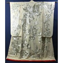 White Uchikake Wedding Kimono w Pure Silver Design of Cranes & Flowers
