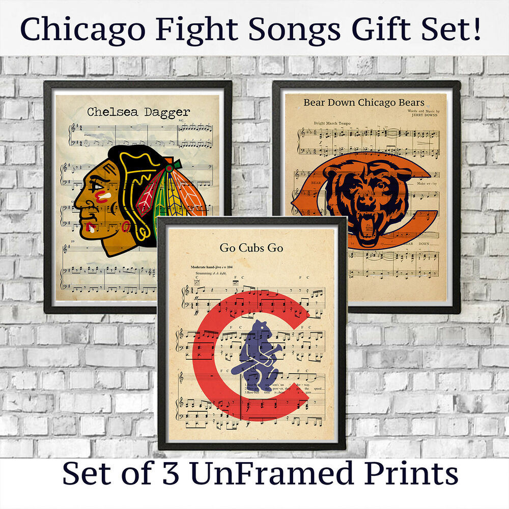 893222060 Details about Chicago Bears Cubs Blackhawks Sports Logo Vintage Fight Song Wall  Art Decor Gift