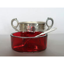 Vintage Silver Metal Cranberry Ruby Red Glass jam or sugar dish w/ silver spoon