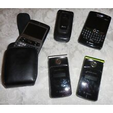 Lot of 5 Cell Phone for parts or repair, not Tested, Flip Phones, Blackberry