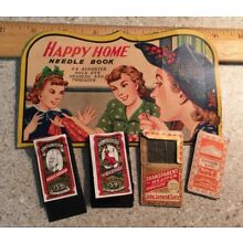 5 Vintage Needle packages Happy Home, Boye, John James, Dix and Rands