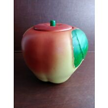 Vintage 1940's Hull Blushing Apple Shaped Cookie Jar Ceramic Retro Beautiful