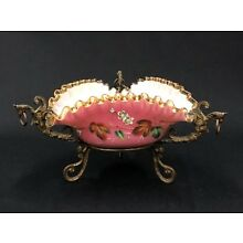c.1920's Bohemian Pink Cased Hand Painted Art Glass Bowl With Bronze Mounting