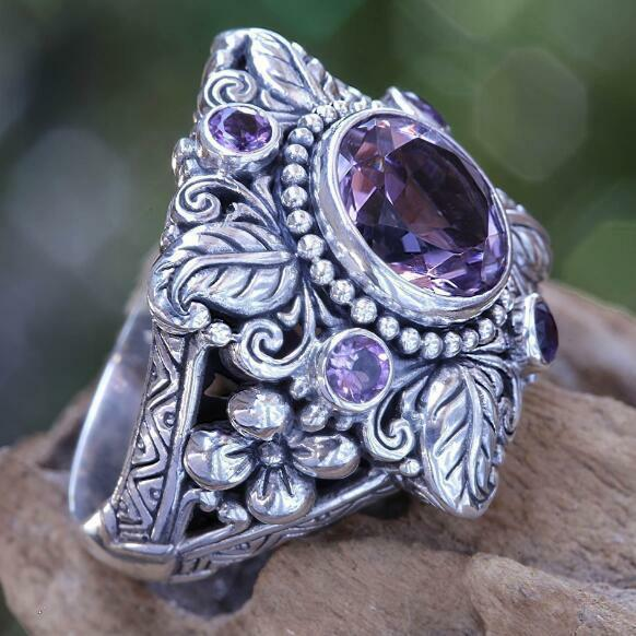 Vintage 925 Silver Amethyst Engagement Wedding Ring Jewelry Wholesale Sz 6-10