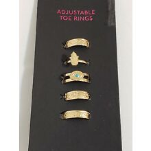 New Adjustable Gold Tone Metal Toe Rings Set Of 5 NWT