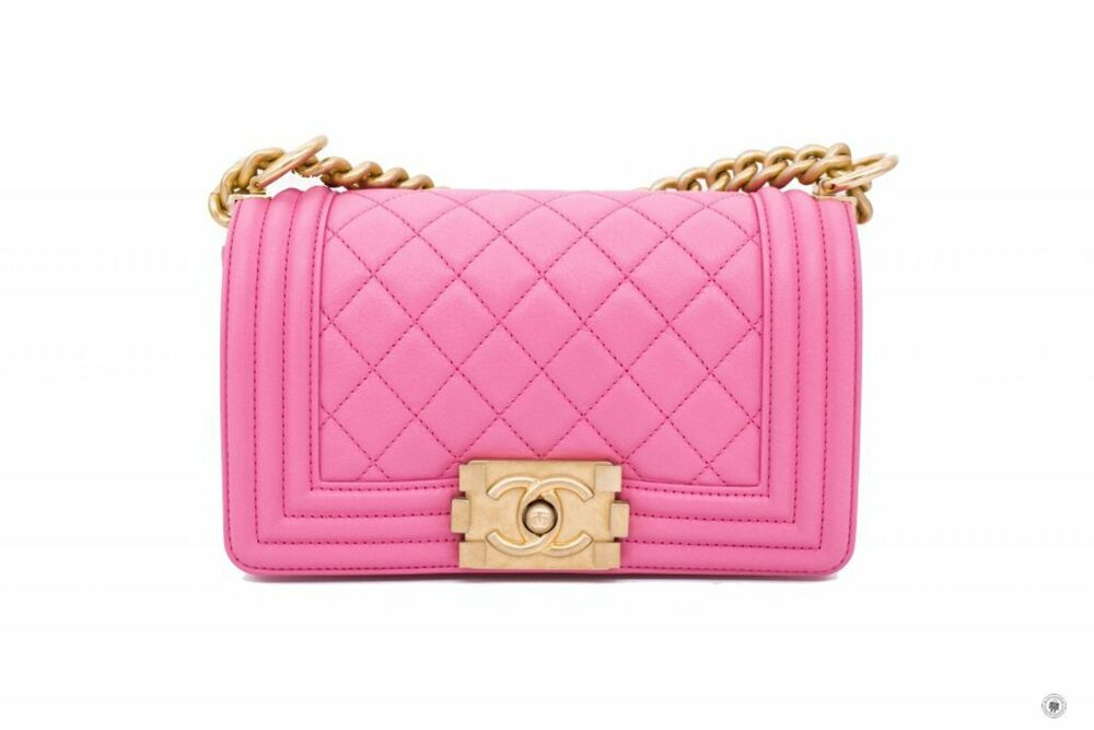 1756f3f9b44b Details about Chanel A67085 Y09939 Boy Pink   5B454 Calfskin Small Shoulder  Bags Gbhw - Authen