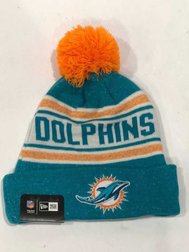 cbc328976 Details about Miami Dolphins Players Sideline Sports Knit Beanie Cap Hat  NFL New Era