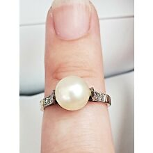 Vintage Solid 18K Yellow Gold Size 5 Art Deco Pearl Dinner Ring, Estate Jewelry