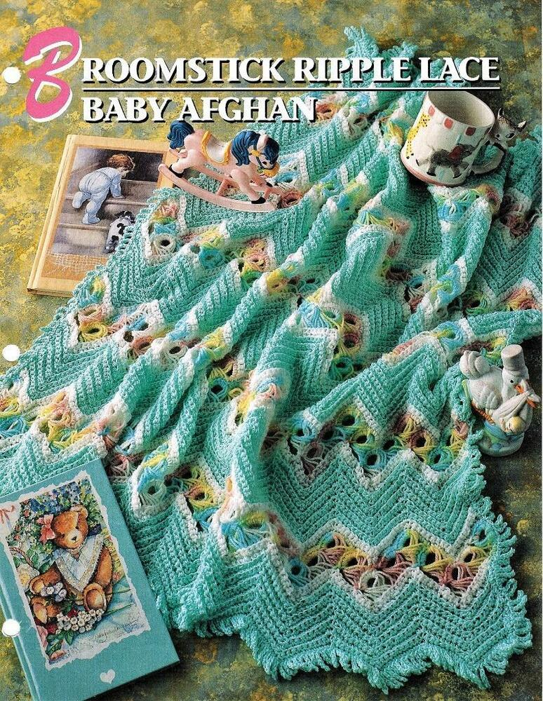 Broomstick Ripple Lace Baby Afghan Annies Attic Crochet Afghan