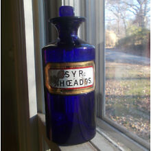 COBALT LABEL UNDER GLASS APOTHECARY DRUGSTORE BOTTLE WITH STOPPER SYR.RHOADOS