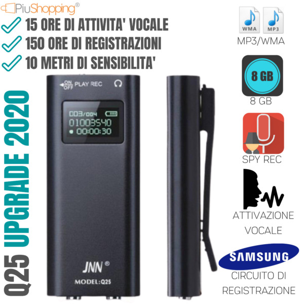 MICRO REGISTRATORE AUDIO ATTIVAZIONE VOCALE 8 GB SPY MINI SPIA AMBIENTALE USB