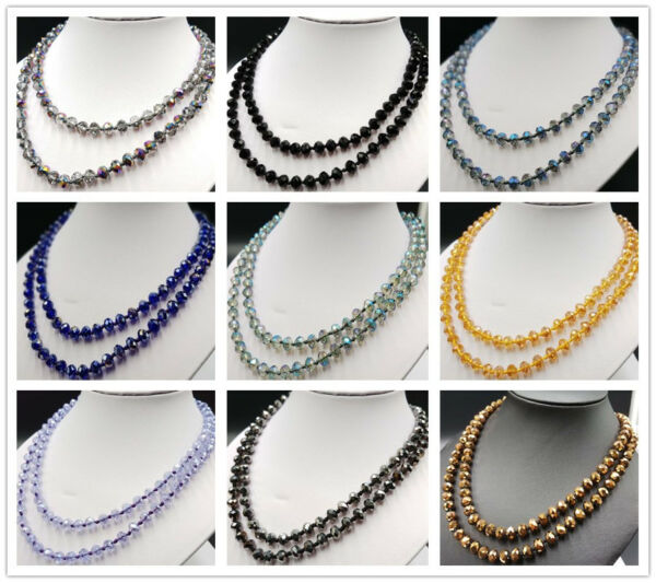 38 Inch Long 6x8mm AB Multicolor Crystal Beads Necklace AAA+