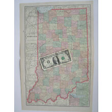 IN XL 1902 INDIANA Map Art Print Decor. RAILROADS. INDIANAPOLIS, LAKE, PORTER Co