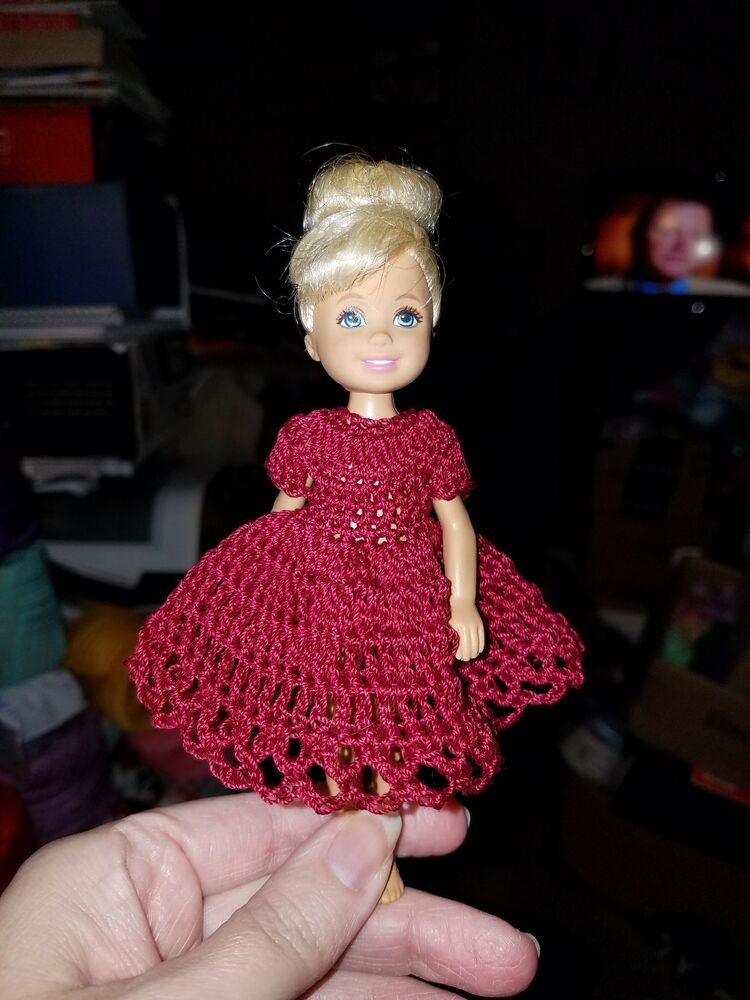 pink sleeves Hand crocheted Chelsea and Kelly Mattel doll clothes