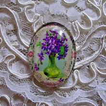 Purple Violets Floral 30X40mm Glitter Unset Handmade Art Bubble Cameo Cabochon