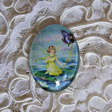 Vtg Fairy & Butterfly 30X40mm Glitter Unset Handmade Art Bubble Cameo Cabochon