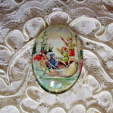Vtg Fairies In Shell 30X40mm Glitter Unset Handmade Art Bubble Cameo Cabochon