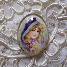 Pretty Girl & Pansies 30X40mm Glitter Unset Handmade Art Bubble Cameo Cabochon