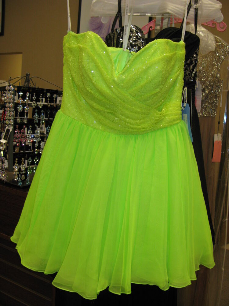 ce5b7aa41d1 Details about Sherri Hill 21257 Neon Lime Cocktail Homecoming Dress sz 6
