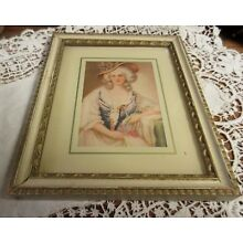 Lovely Vintage Ornate Wooden Frame w/ Victorian Lady Print Shabby Cottage
