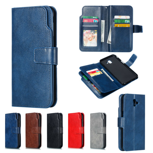 Magnetic Flip PU Leather Wallet 9 Card  Slot Stand Case Cover For Various Phone