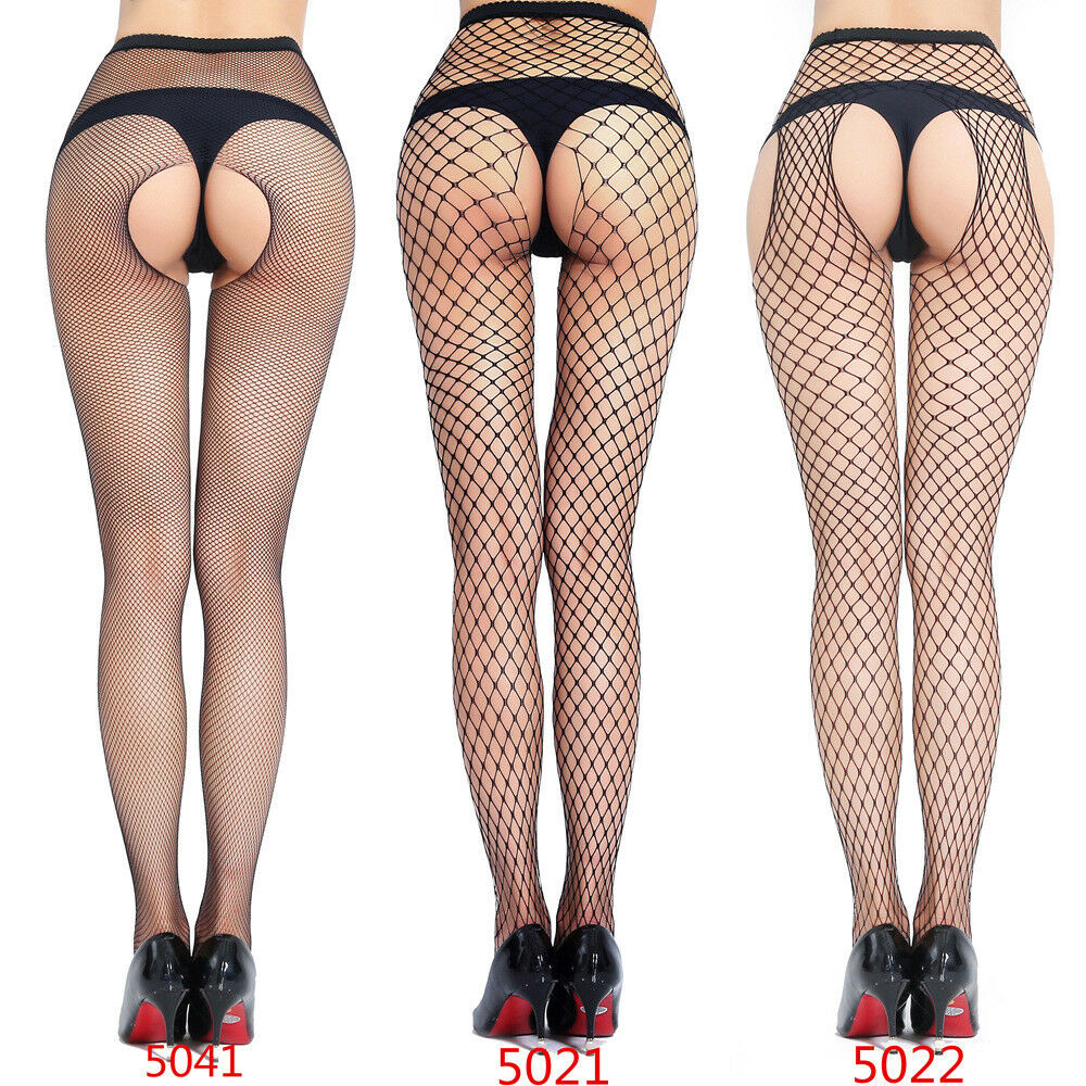 7c9a02511 Details about Lady Socks Stay Up Black Fishnet Stockings Sheer Thigh High Crotchless  Pantyhose