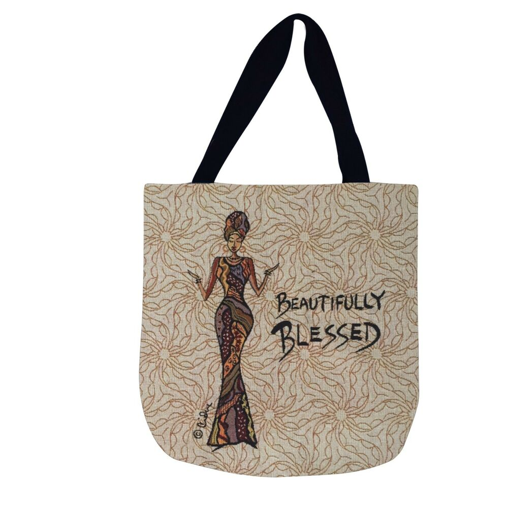 b6fadcff1 Details about Beautifully Blessed African American Woman Tapestry Tote Bag
