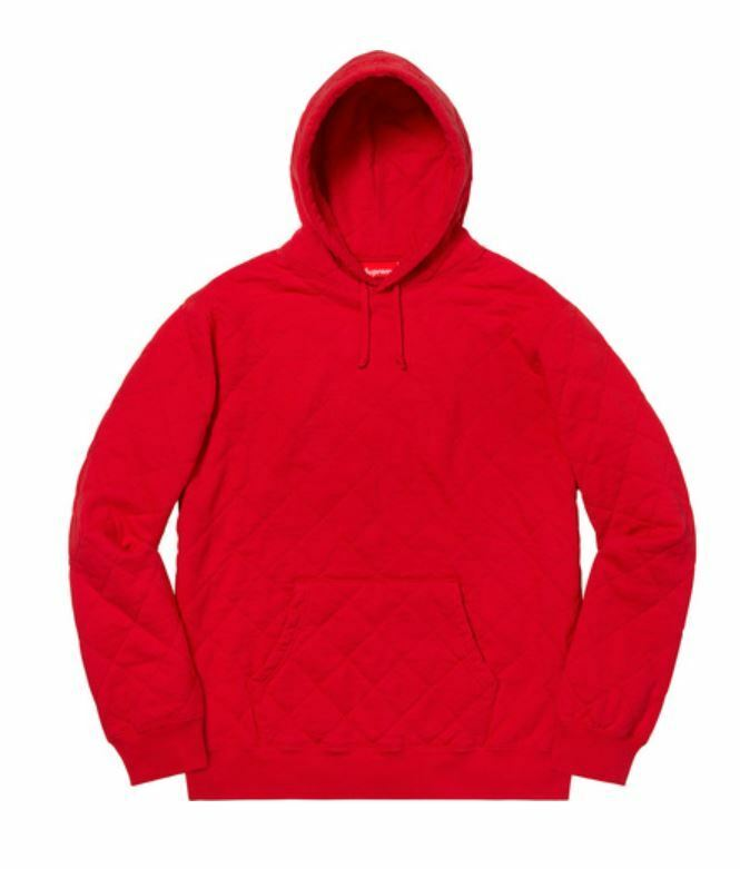 578de6d0f Details about Supreme Quilted Hooded Sweatshirt Red Medium - IN HAND- ready  to ship