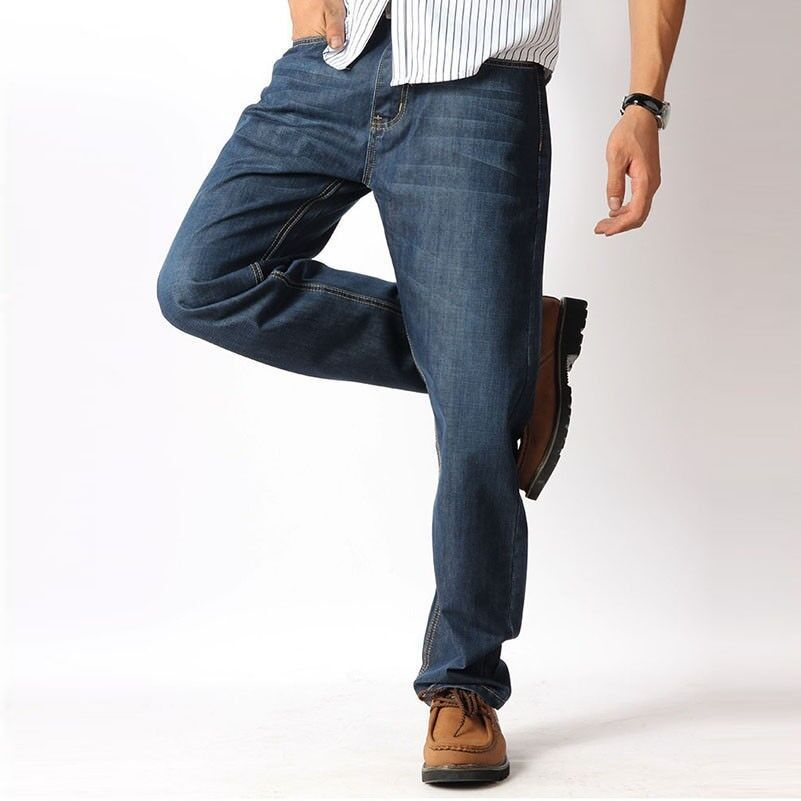 Elastic Trousers Men Over Size Jeans Straight Leg Loose Casual High