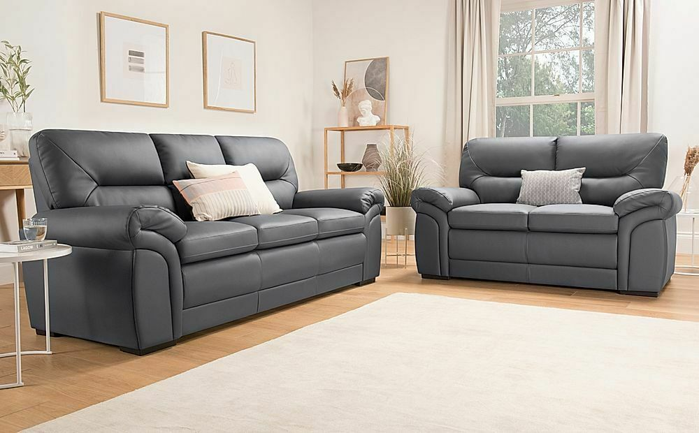 Bromley Grey Leather Sofa Sofas Couch Settee Suite Suites