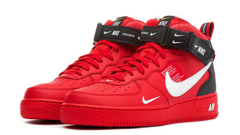 56a04036b1 Nike Air Force 1 Mid Utility LV8 University Red Black AV3803-600 Size 8-13  | eBay