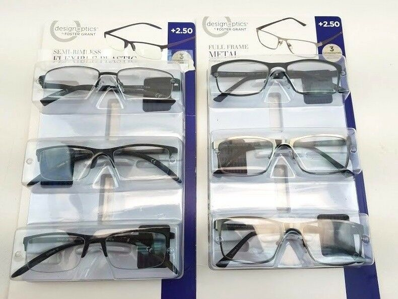 36b400e11ee9 Mens Design Optics Foster Grant +2.50 Near Vision Readers Square Metal 6Pr.  Black   Grey