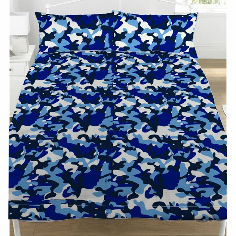 b629f3a8c06 Details about BLUE CAMOUFLAGE DOUBLE DUVET COVER SET KIDS BEDDING ARMY CAMO
