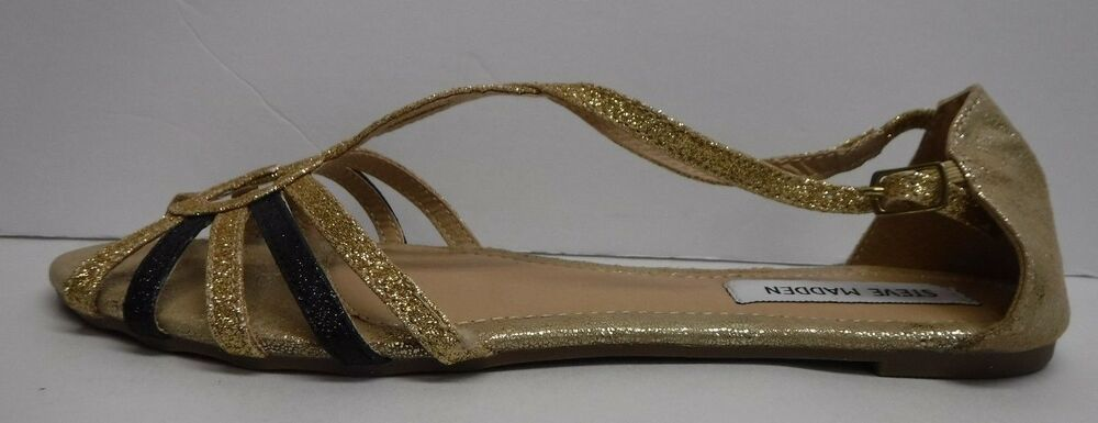 4aaa4b17ce5 Details about Steve Madden Size 8.5 Gold Glitter Flats New Womens Shoes