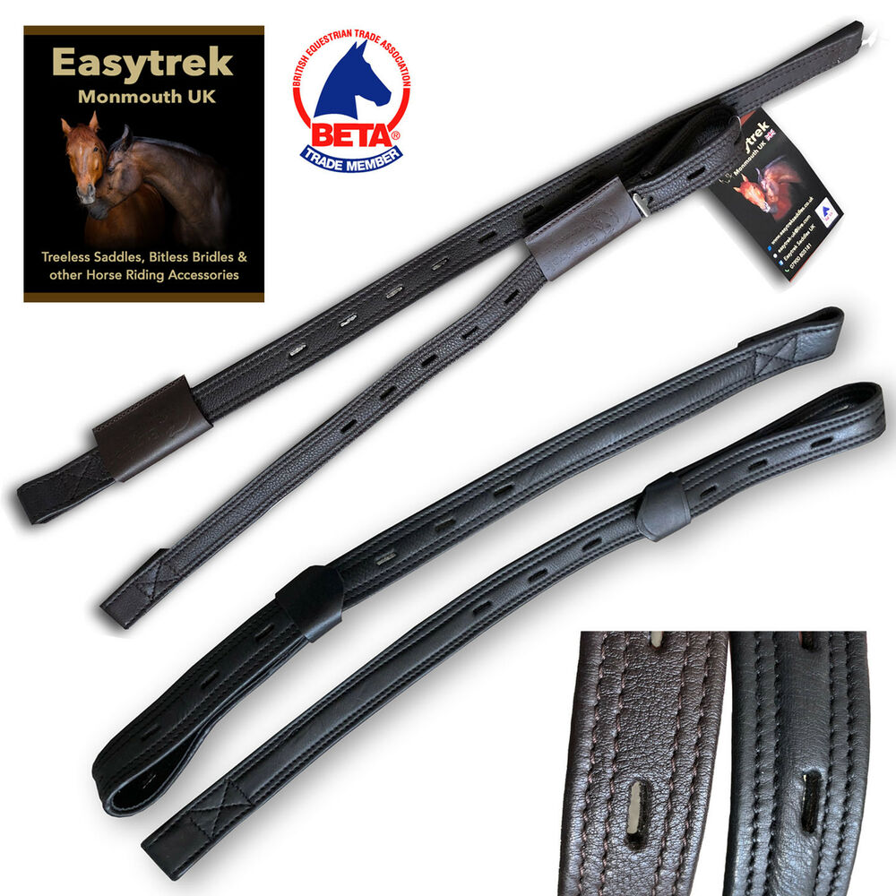 Easytrek Stirrup Leathers T Bar Dressage Close Contact Black Or