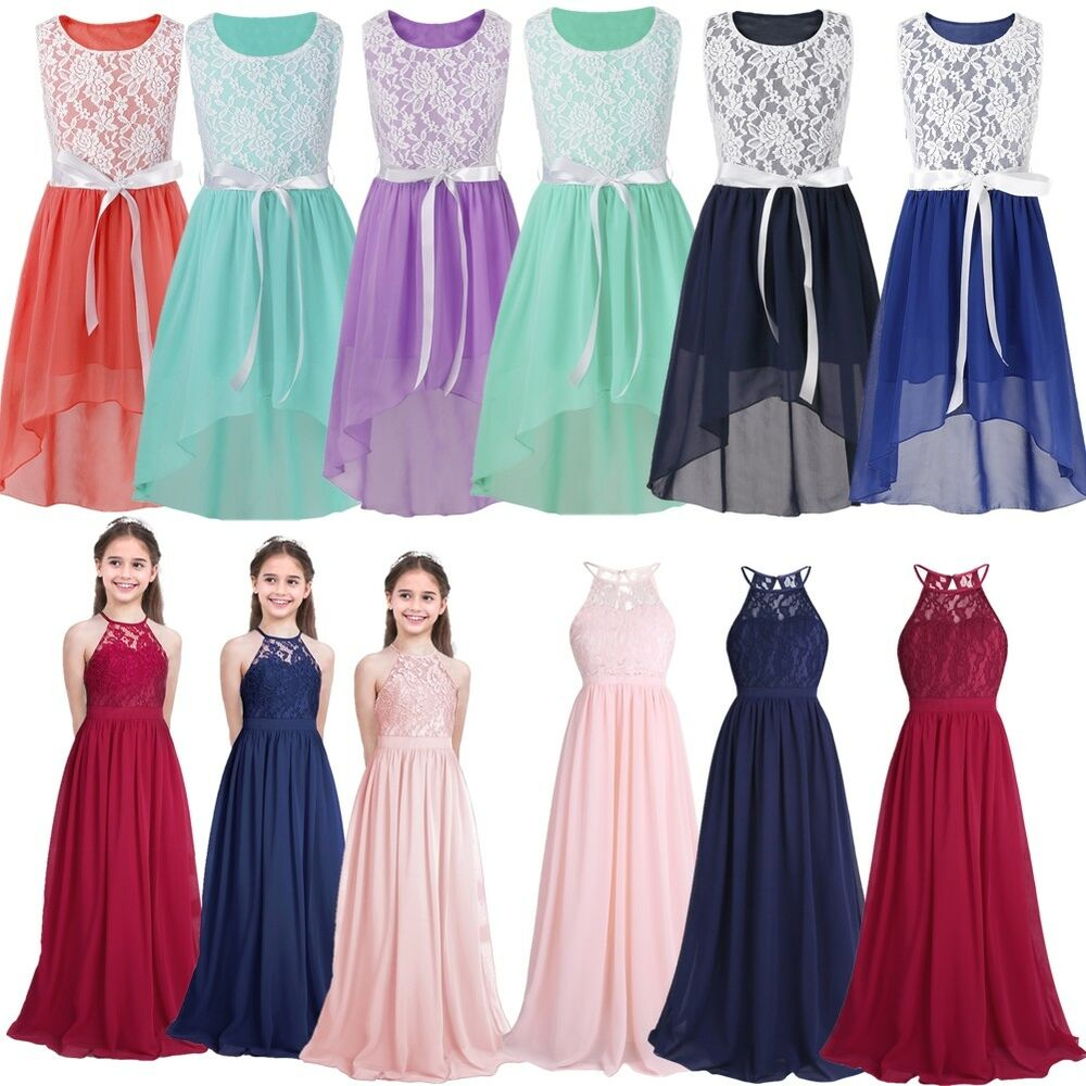 Wedding Party Dress Flower Girl Dress Kids Girls Lace Chiffon Halter Neck High Waist Princess Dress For Wedding Pageant Pageant Birthday Party