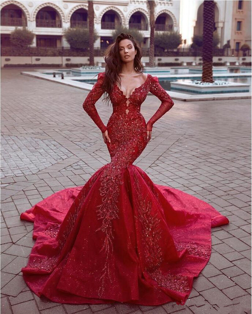 Red Xl Wedding Dress: Shiny Red Lace Beaded Mermaid Wedding Party Prom Dress