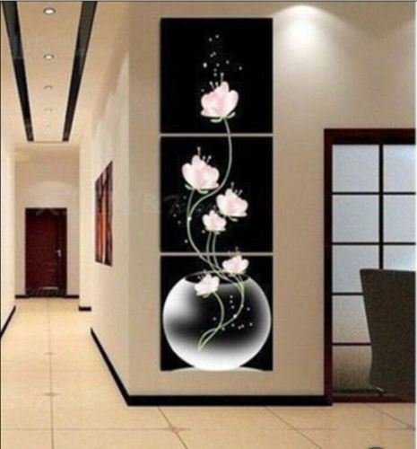 CHOP845  abstract 3pcs flowers hand painted oil painting home art on canvas