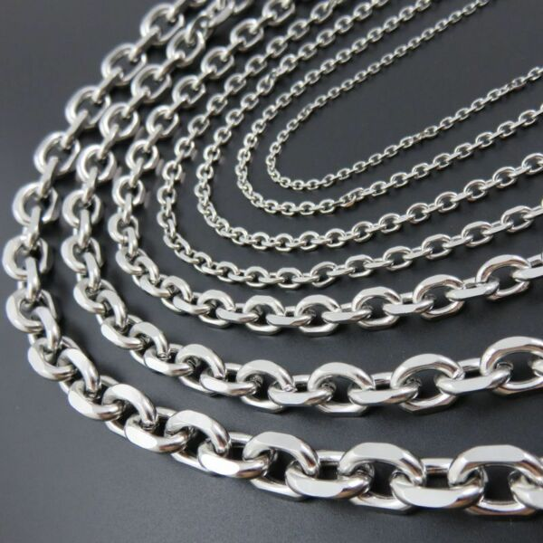 2.5-10mm Mens Chain Silver Tone Stainless Steel Rolo Link Necklace 18-36'' Gift
