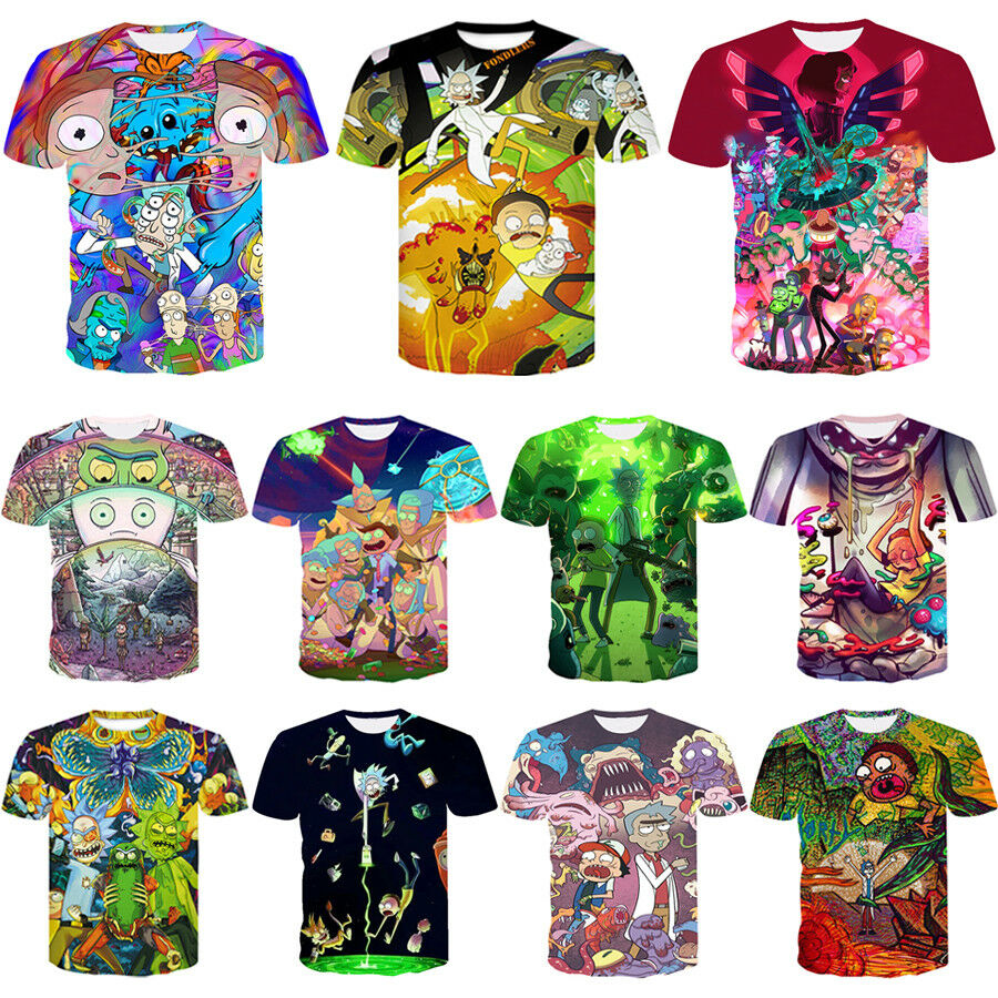 7184919b3a1 Details about S-5XL Women Men Rick and Morty Funny Print 3D T-Shirt Casual  Short Sleeve Tee